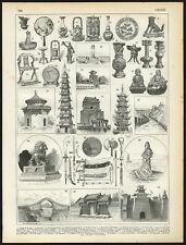 Antique Print-CHINA-ARCHITECTURE-APPLIED ART-Larousse-1897