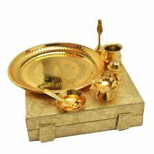 Indian Gold Plated Brass Pooja Thali Set 7 Pcs Box Packing Home Decorative Thali