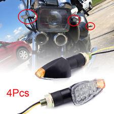 4pcs 12V Universal Black Motorcycle Bike Amber LED Turn Signal Light Indicators