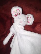 Kiddicare White Floral Ears Mouse Baby Blanket Comforter Soft Toy