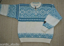 Dale Of Norway Classic Norwegian Wool Nordic Ski Sweater  Small  blue white
