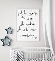 Let Her Sleep She Move Mountains Black & White Print Girls Nursery Kids Room Art