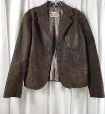 MORENA Art of Fashion VINTAGE Brown Sportcoat  Leather Womens  Jacket Sz 42