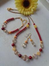 Außergewöhnliches Schmuckset Halskette+Armband+Ohrhaken Rot/Gold UNIKAT