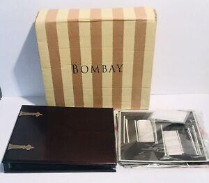 NEW Mahogany Wood & Brass MEMORY PHOTO ALBUM With 20 Inserts The Bombay Co.