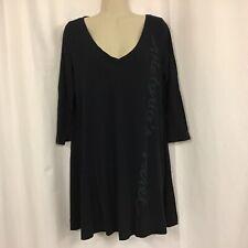 Victoria's Secret Black Long Sleeve Sleep Shirt Gown Pajama Large