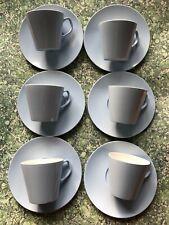 More details for vintage pale blue melmex melaware melamine cups & saucers x 6 camping camper van