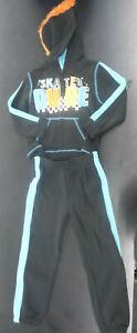 Boys Pure One Black & Blue Skater Dude 2pc Hoodie Set Sizes 4 - 7