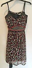 Leopard print Dress with studs ribbon belt Size 14 Julien Macdonald