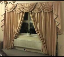 Interior Designed Interlined Luxurious Silk Curtains With Swags and Tails