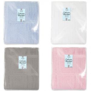 Brand New 100% Cotton Cellular Baby Blanket Newborn Birth Pram Cot Moses 60X90cm