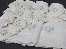 Vtg Portugal Imperial Linen Banquet Tablecloth 12 Napkin Bridal Pink Rose 120X66