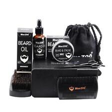 7Pcs/Set Beard Oil Wax Comb Mustache Care Brush Scissor Men Hair Tool Kit Gift B