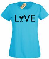 Womens Love Wine T-Shirt Alcohol Graphic ladies top tee