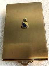 Vintage Gold Tone With Shield Emblem Makeup Compact