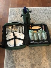 Picnic Essentials Backpack Service For 4 Green Insulated Wine Bottle Holder New