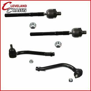 2 Outer & 2 Inner Tie Rod Ends fits 07-12 Hyundai Veracruz