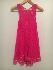 Free People New Romantics Fuschia Hot Pink Crochet Dress, XS