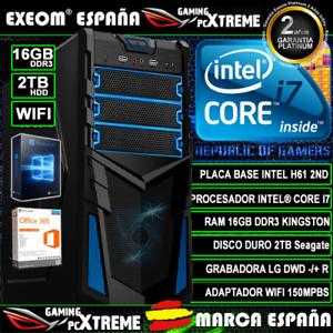 Ordenador Gaming Pc Intel Core i7 16GB DDR3 2TB HDD Wifi Sobremesa Windows 10