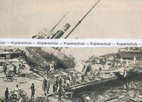 Japan - Taifun - Hafen von Osaka - um 1935 -  Selten !  R 5-3