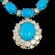 Certified 35.25cttw Turquoise 3.50cttw Diamond 14KT Yellow Gold Necklace
