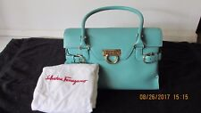 SALVATORE FERRAGAMO LEATHER HAND BAG(TURQUOISE COLOR). MADE IN ITALY.