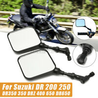 Pair Motorcycle Rear View Mirrors 10mm For Suzuki DR 200 250 350 650 DRZ 400 US