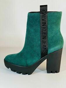 Calvin Klein Original Women's Boots CKJ Serina Green Suede Platform Block Heels.