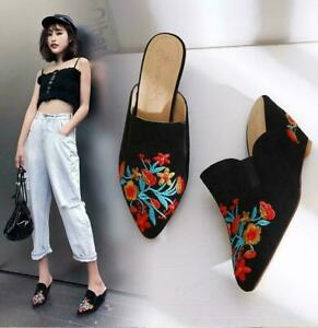 2021Womens Pointed Toe Suede Embroidery Slippers Casual Black Wedge Heels Shoes