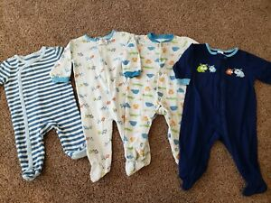 Baby Boy Sleeper Lot Size 3-6 Months, Long Sleeve Sleepers, 6 Months Pajamas