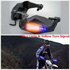 Pair LED light Motorcycle Handguard Baffle Windproof Blue / Yellow Turn Signal