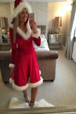 US Christmas Mother Daughter Dress Santa Velvet Xmas Family Matching Clothes
