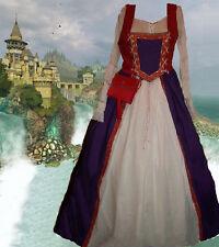 Medieval Gown Renaissance Costume Sca Garb PurpRed 2pc Bi-Lcg BodiceFullSkt Lxl