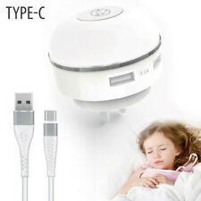 LED Wall Charger Night Light Control Sensor 2 USB + Type C Cable for Tablet IPad