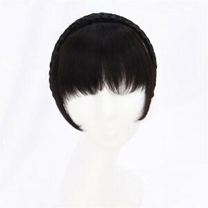 100% Human Hair Toupee Topper Bangs Braided Wigs Fringe Hair Headband for Women
