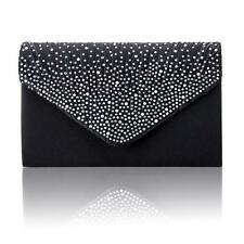Women Satin Diamante Bag Evening Bridal Ladies Clutch Handbag Wedding Prom 04 Black