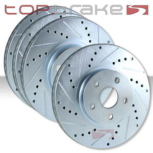 FRONT + REAR SET Performance Cross Drilled Slotted Brake Disc Rotors TBS13161
