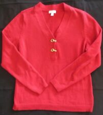 CHARTER CLUB Women's Red Long Sleeve V-Neck Sweater with Gold Toggles Size Large
