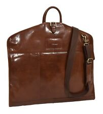 Luxury Leather Suit Carrier Slimline Travel Garment Dress Bag Chestnut Tan