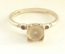 925 Sterling Silver Ring White Clear Square Stone Ring Engagement UK L US 5 1/2