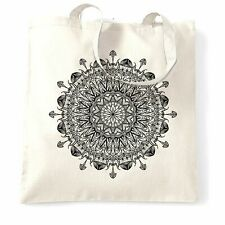 Summer Art Tote Bag Indian Mandala Pattern Design Floral Drawn Logo