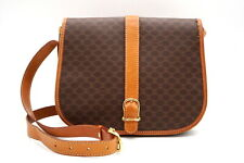 CELINE Vintage Macadam Messenger Shoulder Bag PVC Leather Brown 2896h
