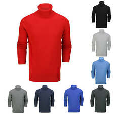 Mens Roll Neck Jumper Soft Cotton Knitted High Turtle Polo Pullover Slim Fit Top