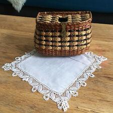 Vannerie Ancien Petit Panier Poupée Osier & Napperon - Wicker Doll Basket