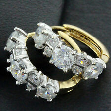EARRINGS HOOPS HUGGIE GENUINE REAL 18K YELLOW G/F GOLD DIAMOND SIMULATED DESIGN
