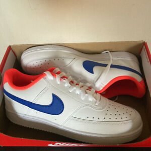 Nike Court Vision Low Trainers White with Royal Blue/Crimson Flash UK Size 9