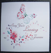 HANDMADE PERSONALISED LEAVING CARD,BLOSSOM & BUTTERFLY