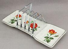Vintage MIDWINTER Orange Roses Toast Rack Chrome Handle 1950s China High Tea