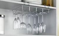 Stainless Steel Under Shelf Wine Glass Holder Bar Stemware Storage Rack Hanger