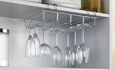 ACCIAIO Inossidabile sotto mensola supporto in vetro vino bar di calici Storage Rack Hanger
